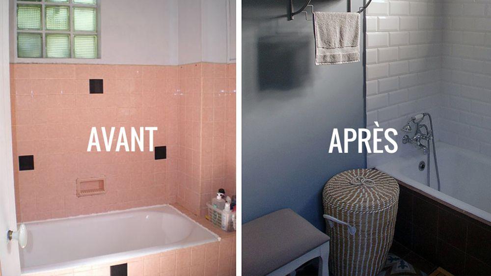 Avant Apres Renover Une Salle De Bains Dans Un Style Neo Retro Avant Apres Salle De Bain Renovation Salle De Bain Carrelage Salle De Bain