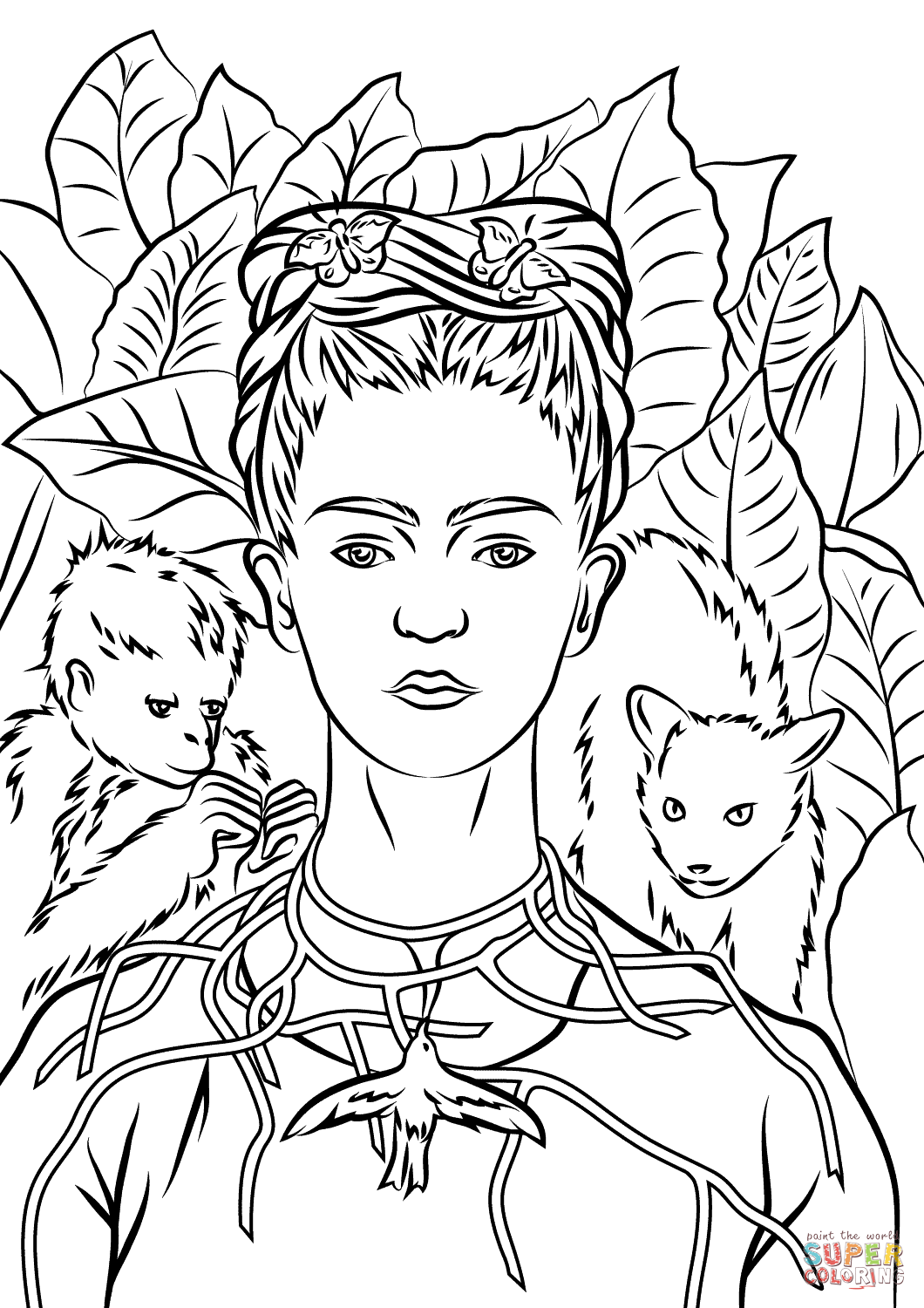 Self Portrait With Necklace Of Thorns By Frida Kahlo Coloring Page From Frida Kahlo Category