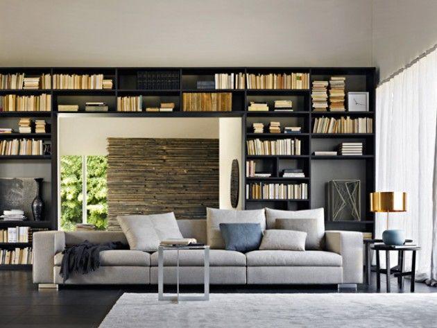 salon contemporain avec bibliotheque en bois noir | Architecture ...