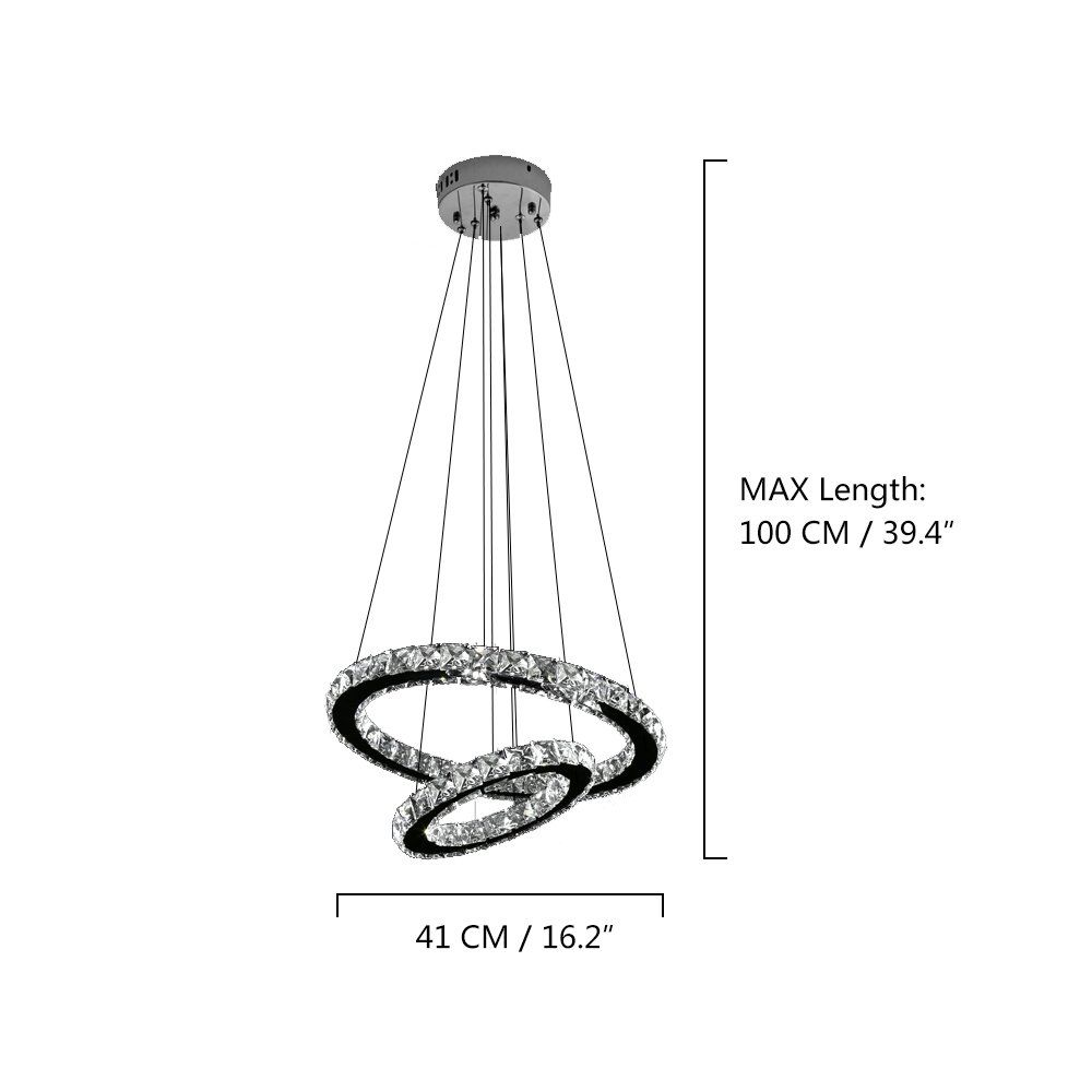 NATSEN Led Pendant Light Crystal Hanging Light Ceiling Light Fixture ...
