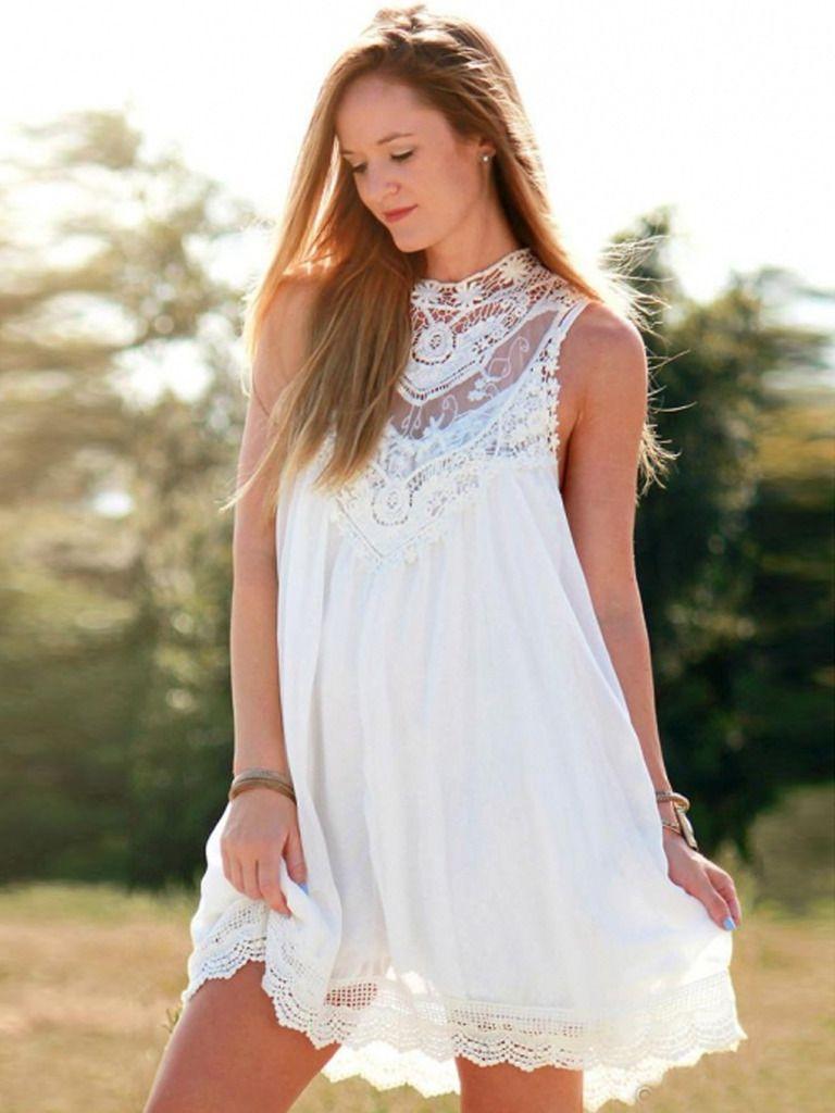 Romantyczna Biala Sukienka Koronkowa Boho Hippe 36 5317728747 Oficjalne Archiwum Allegro White Mini Dress Chiffon Mini Dress Mini Shift Dress