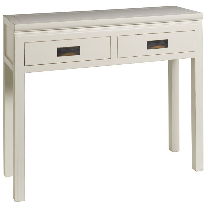 Hanoi White Lacquer Oriental Console Table With 2 Drawers