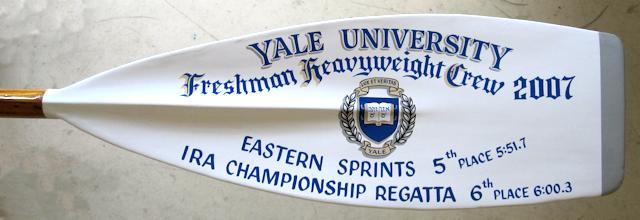 Trophy oar for Yale University lettered by Peter Achorn.