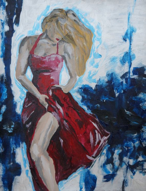 Dancer in red dress with blonde hair. Abstract background ...