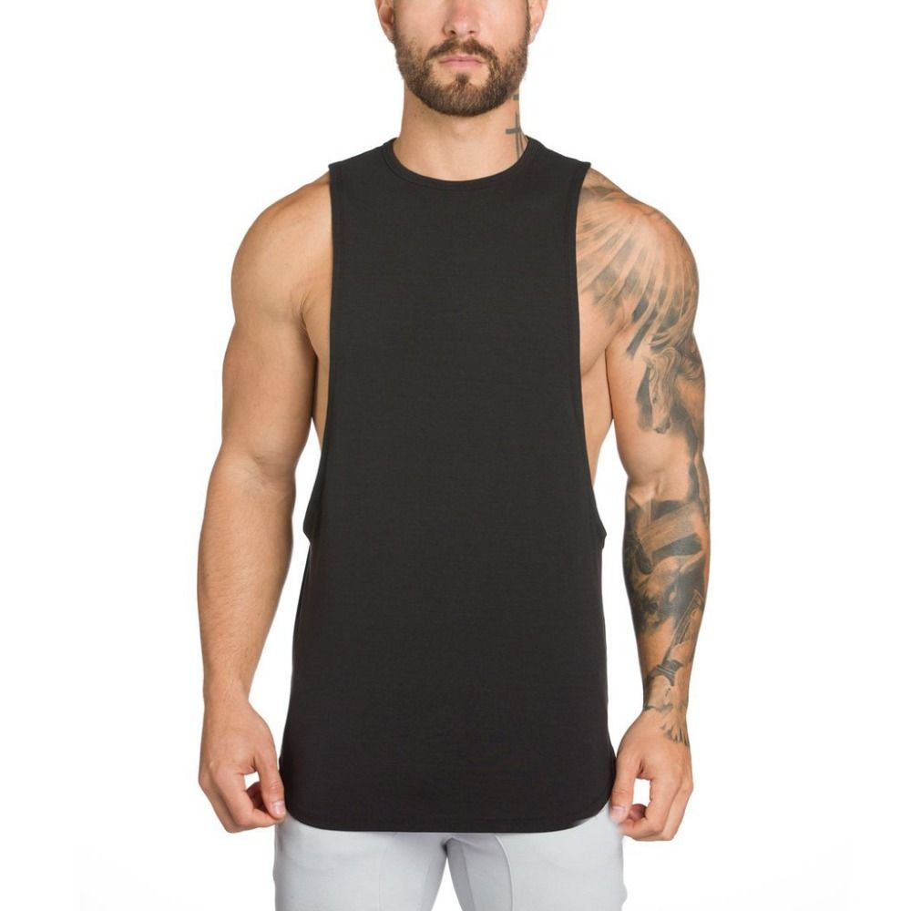 Mens Gym Muscle Sleeveless Tank Top Tee Shirt Quick Dry Sport Fitness Solid Vest