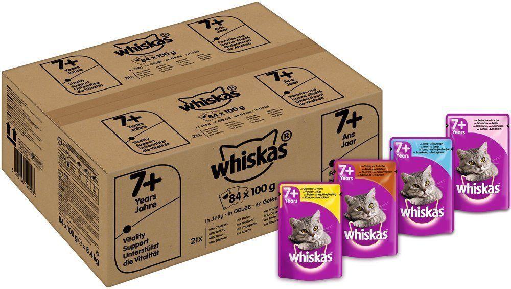 84x100g Whiskas 7 Senior Cat Pouches In Jelly Food Chicken Turkey