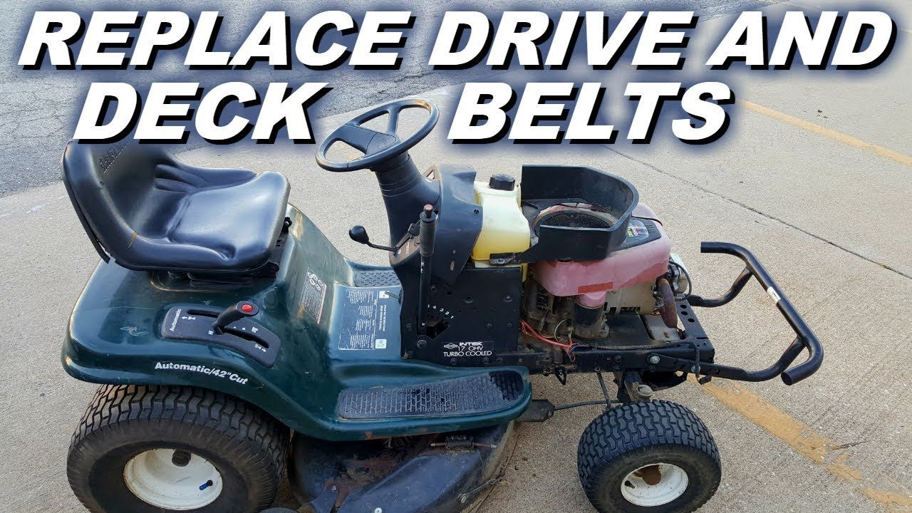 How To Replace Both Drive And Deck Belts On A Craftsman Riding Mower Youtube Lawn Mower Riding Mower Riding Lawn Mowers