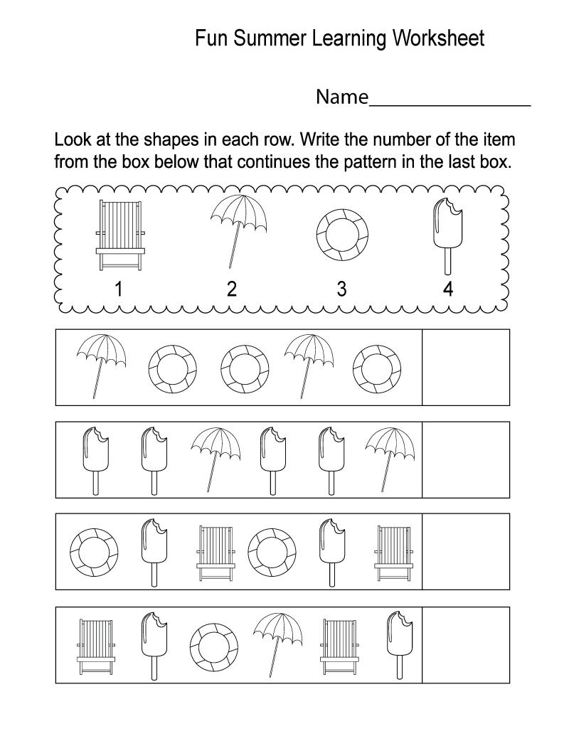 Fun Activity Worksheets Summer | Learning Printable | Kids ...