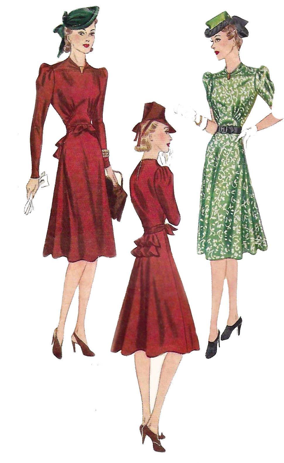 Vintage 1940\'s Sewing Pattern Elegant Gathered Yoke Tea Dress Bustle ...