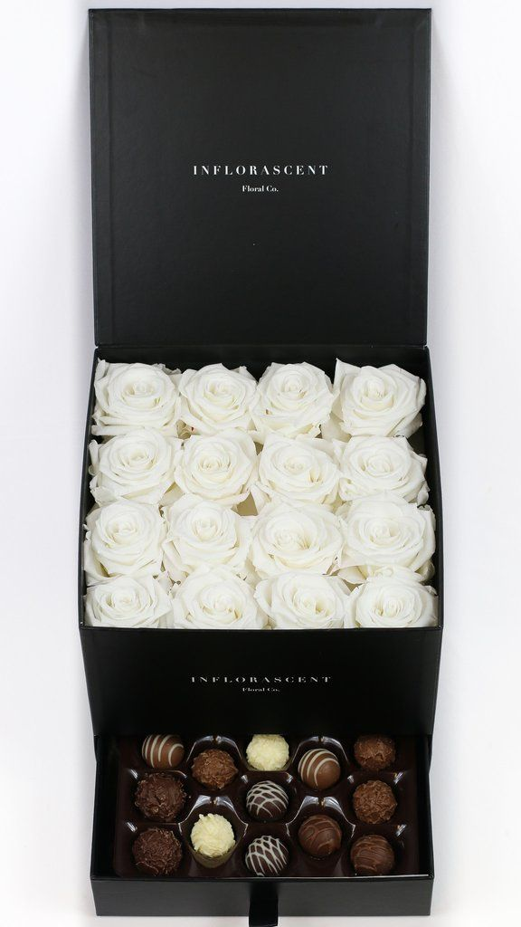 White Roses In A Box Luxury Gift With Chocolates Real
