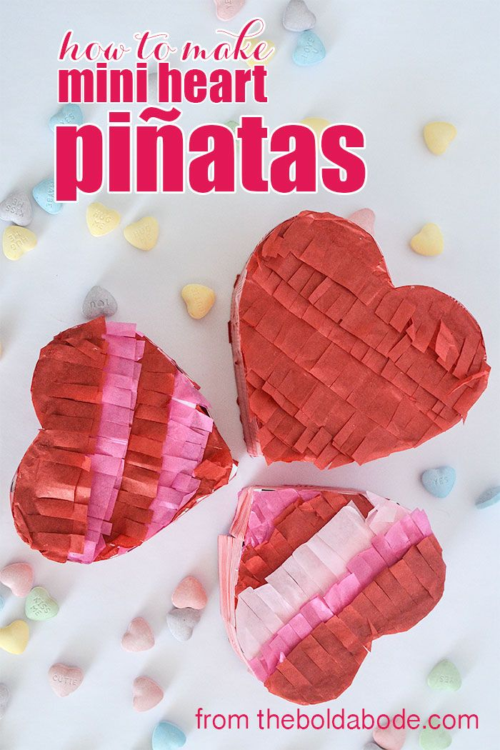 make valentine's day special with these mini heart pinjatas. easy, Ideas