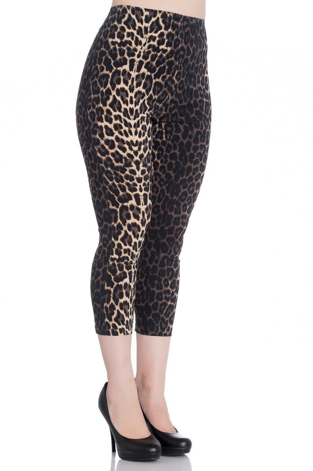 c1a58dd0f2f326 High Waist Retro Panthera Capris in Leopard Print | Capri Trousers