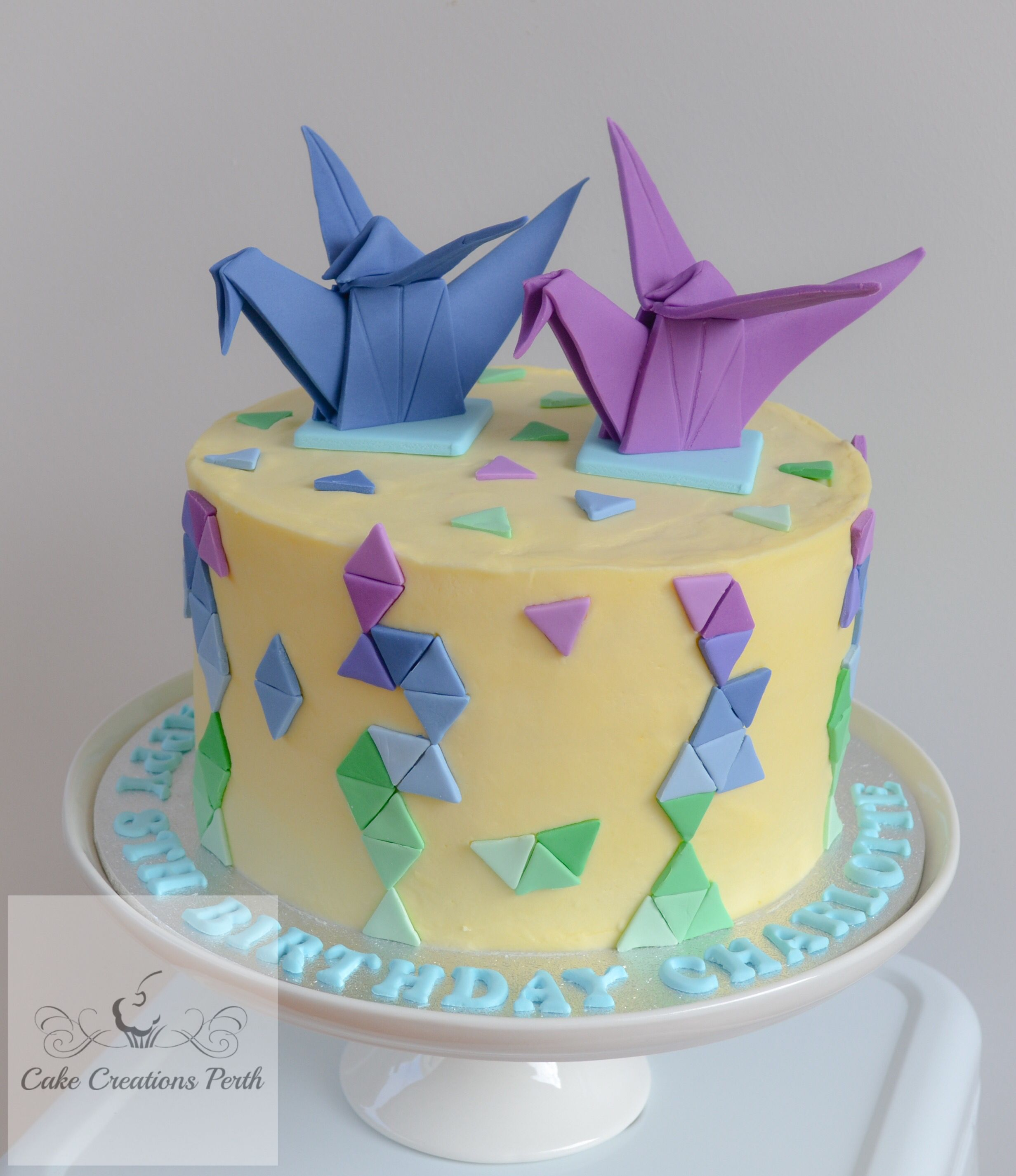 Prime Origami Geometric Themed Birthday Cake Buttercream Icing And Funny Birthday Cards Online Inifodamsfinfo