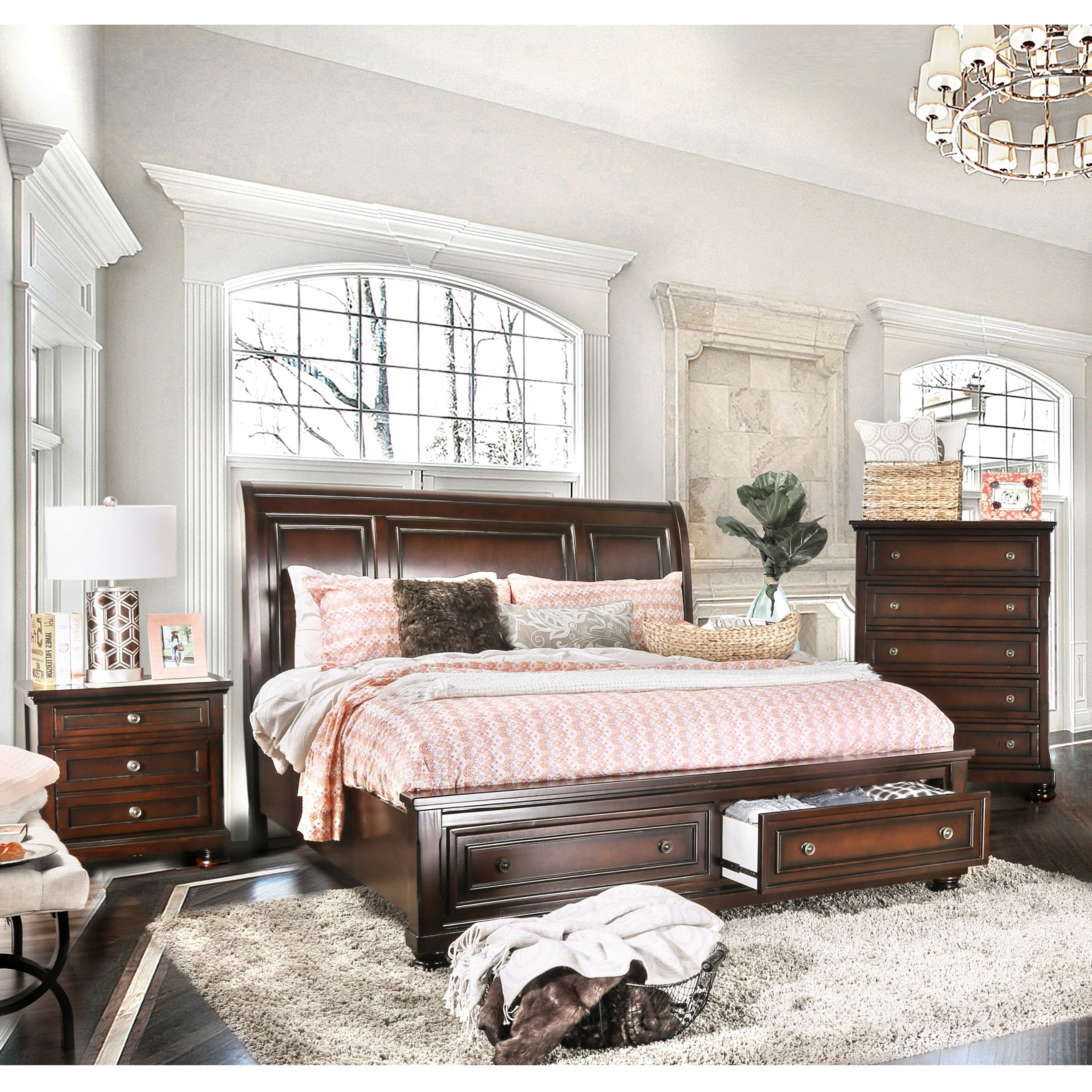 Furniture of America Barelle I Cherry Finish Solid Wood 3-piece ...