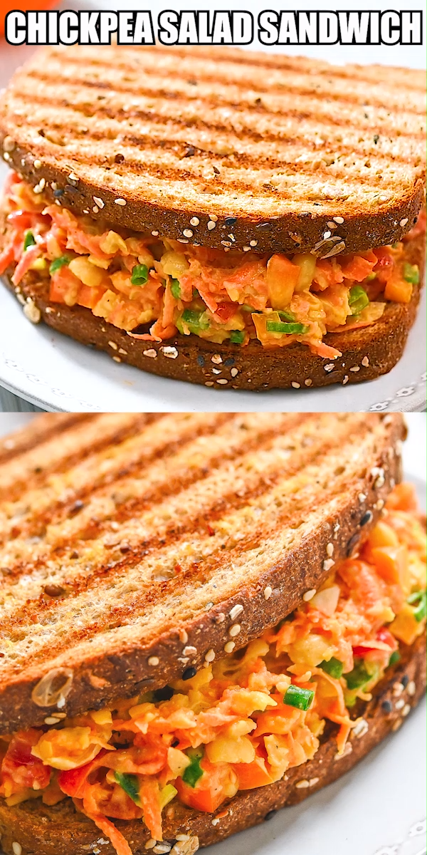 This delicious and healthy Chickpea Carrot Salad Sandwich is a scrumptious blend of seasoned chickpeas and veggies – and it's vegan-friendly, too. FOLLOW Cooktoria for more deliciousness! #chickpeas #carrot #salad #sandwich #vegan #vegetarian #lunch #plantbased #healthy #cooktoria