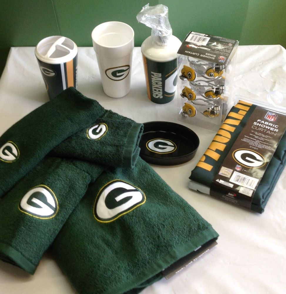 Green Bay Packers Bath 21 Piece Set Soap Shower Curtain Hooks Dish