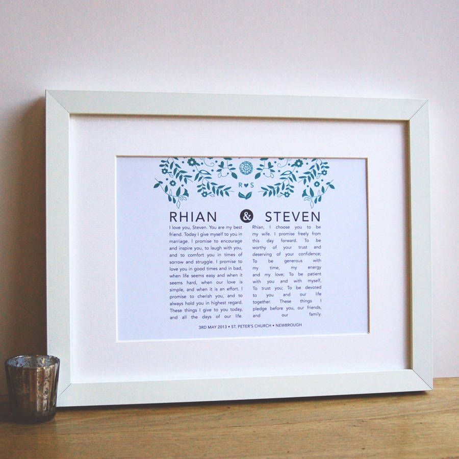 Wedding Vow Ideas For Groom: Personalised Bride And Groom Wedding Vow Print
