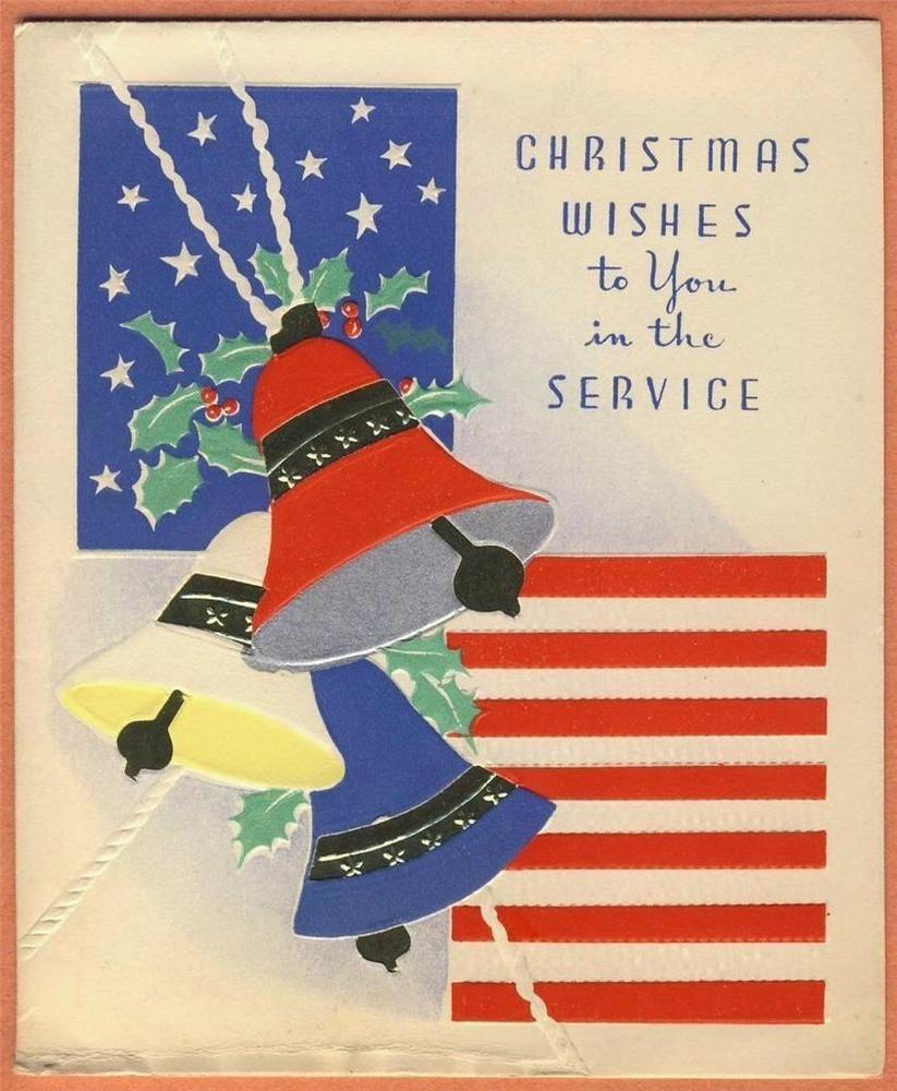 Vintage Military Servicemansoldier World War Ii Xmas Card Bells