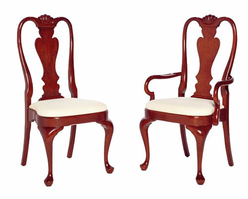 Cherry Queen Anne Dining Chairs Featuring Bow Front Seat With Floral Pattern Fabric And Top Shell