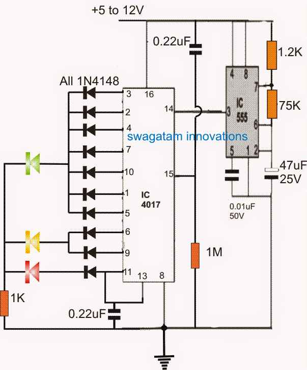 Led Timer Indicator Crcuit For Board Games Circuit Projects Circuit Circuit Diagram
