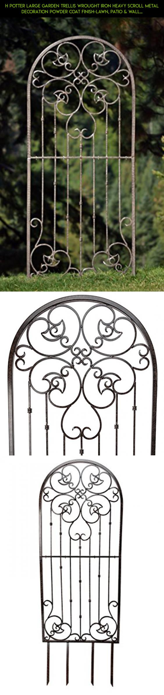 H potter large garden trellis wrought iron heavy scroll metal