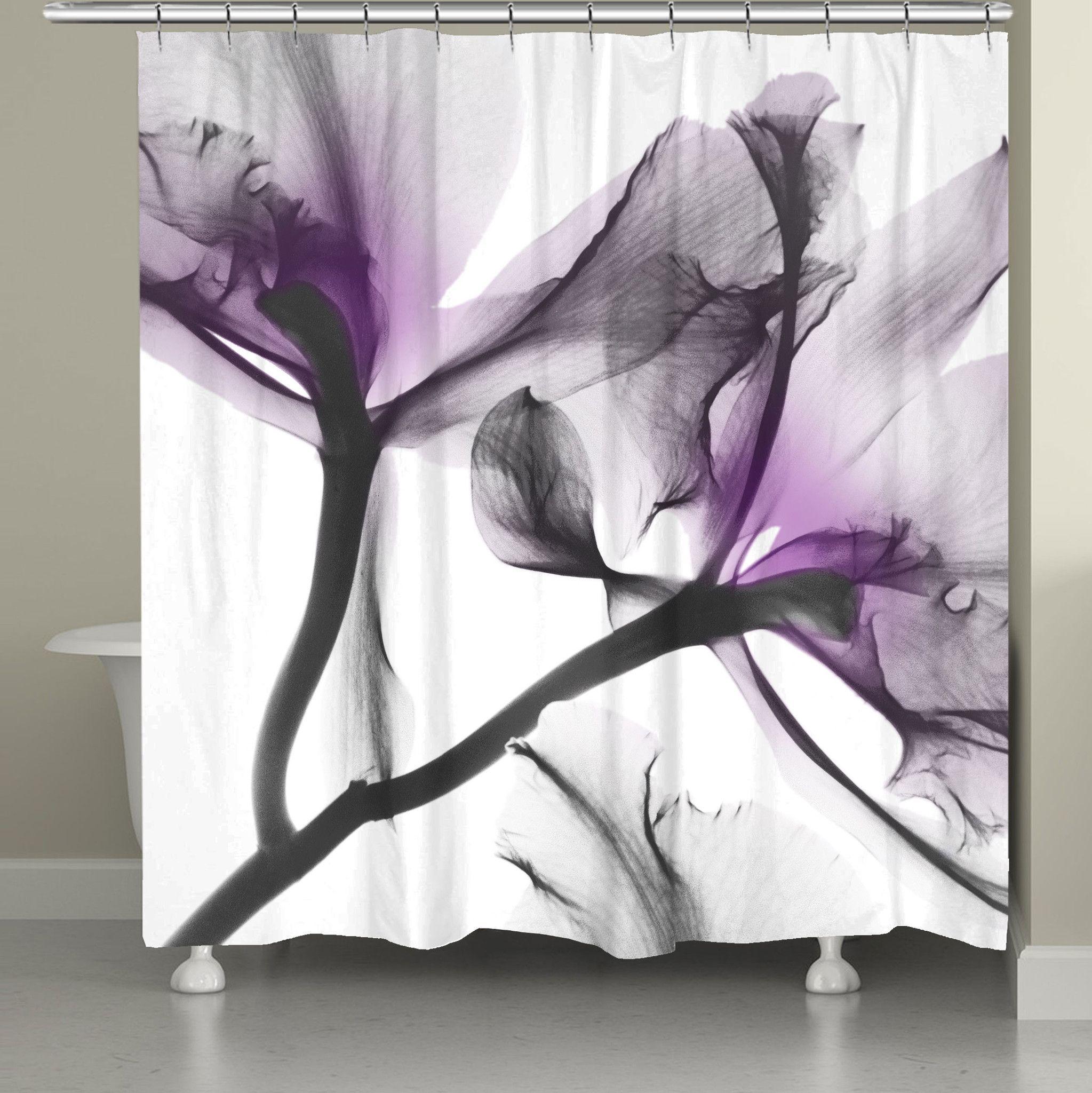 Lavender Cyclamen X Ray Flowers Shower Curtain Flower Shower