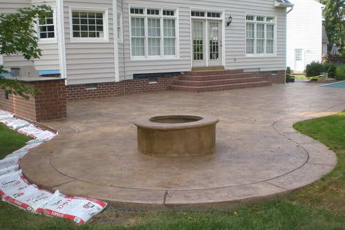 Concrete Patios Pictures Stamped Patio Firepit And Outdoor Kitchen