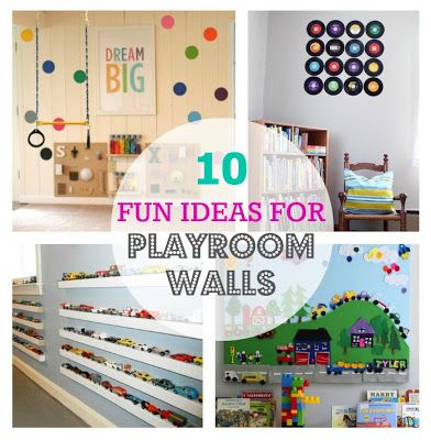 10 Fun Ideas For Playroom Walls These Ideas Would Also Work For Kids Rooms Playroom Kids Toddlers Playroom Wall Decor Playroom Wall Playroom
