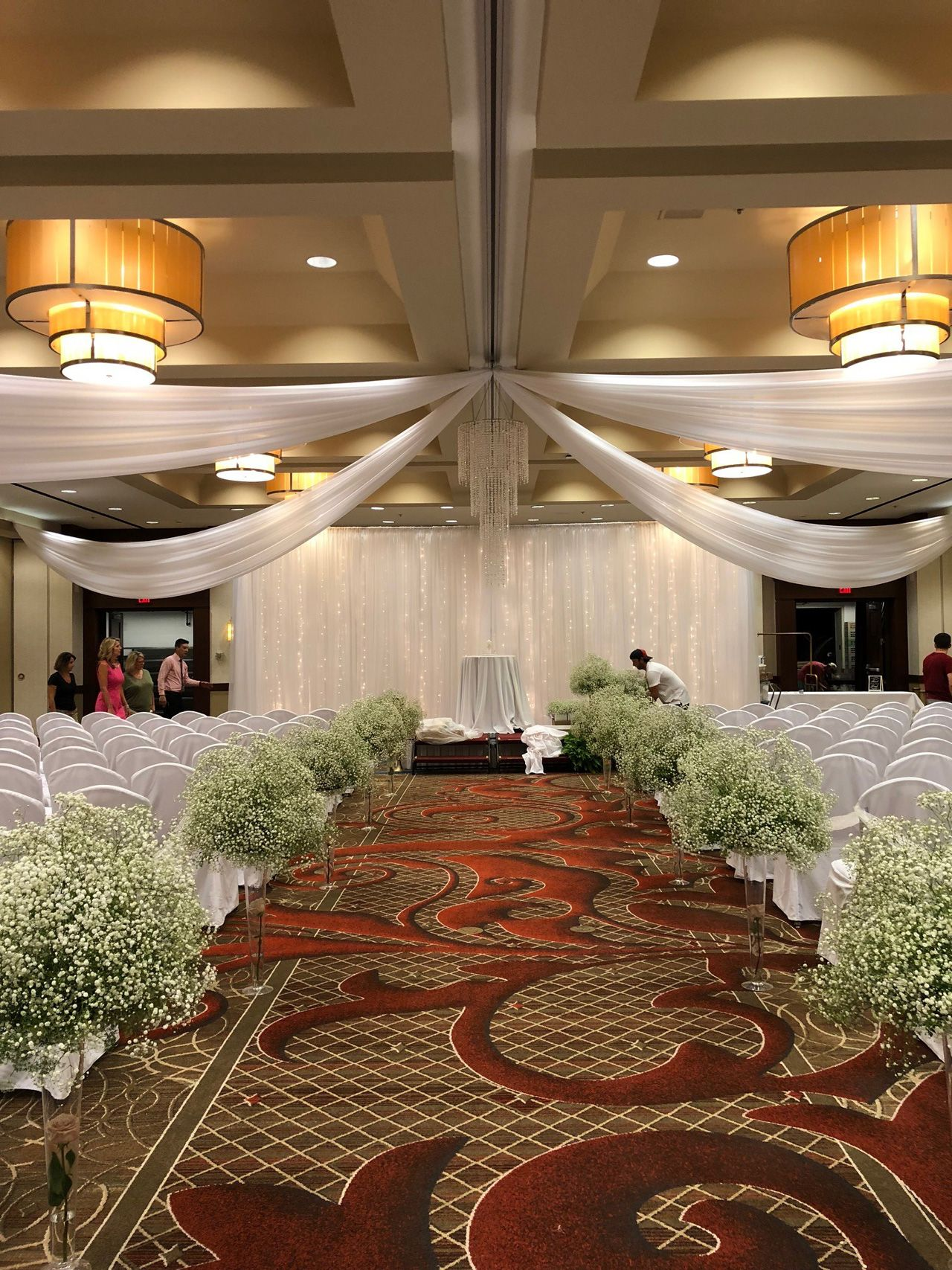Ceiling Draping With Crystal Chandelier And Backdrop Rental At Marriott Downtown Des Moines Iowa Wedding Rentals Ceiling Draping Event Rental