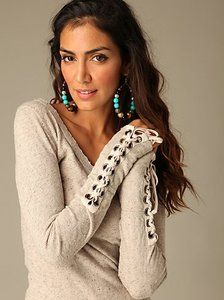 1028dcec2184 Free People We The Free Lace Up Cuff Laced Henley Thermal Long Sleeve
