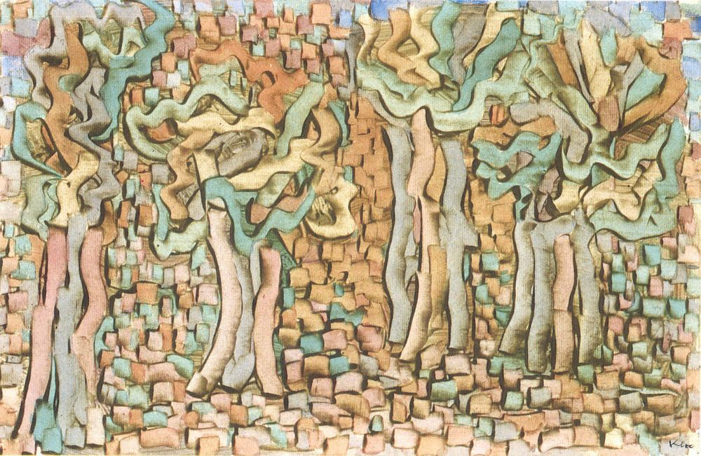 Paul Klee  'Bäume im Gestein' (tree in the Rock [my own translation g.s.]) 1933, Colored paste on paper  31 x 48 cm, Galerie Jeanne Bucher, Paris © Zentrum Paul Klee, Bern, Bildarchiv