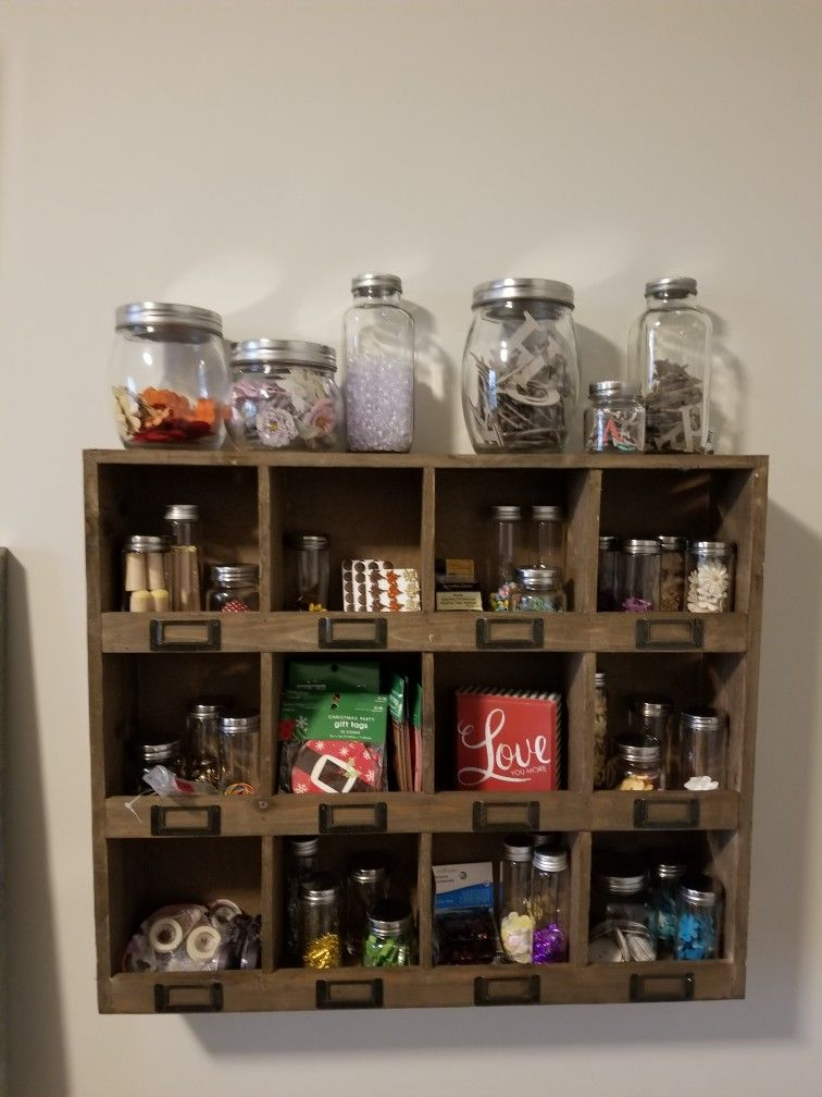 Cubby and jars from hobby lobby for my industrial