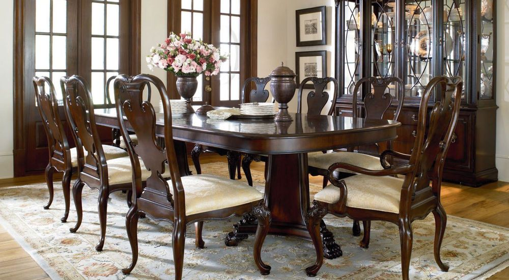 Thomasville Furniture Brompton Hall Mahogany Double Pedestal Amazing Dining Room Empire Review