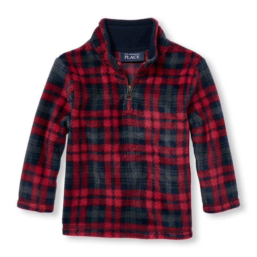 Toddler Boys Long Sleeve Plaid Half-Zip Mock Neck Glacier Fleece ...