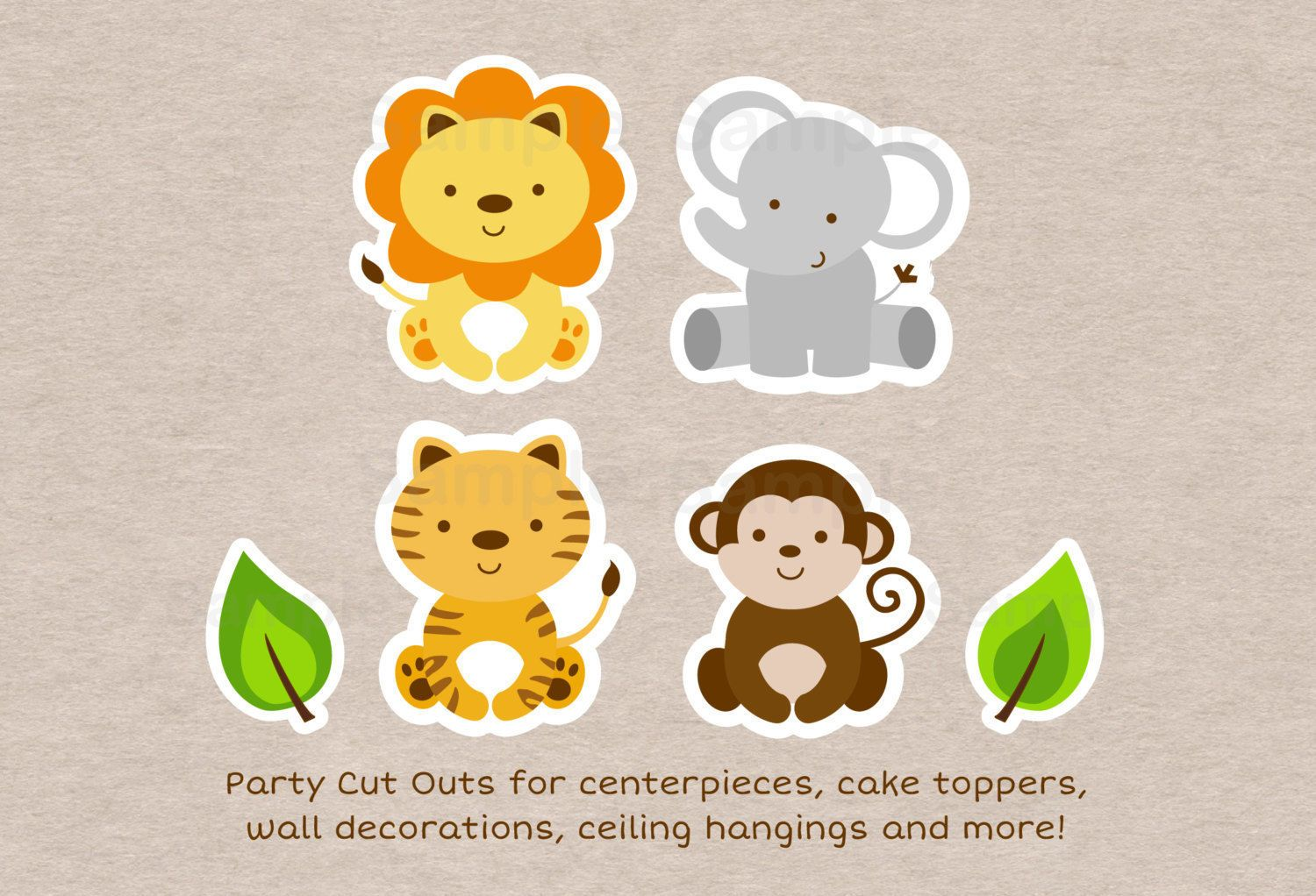 Cute Jungle Safari Animals Party Cutouts Decorations