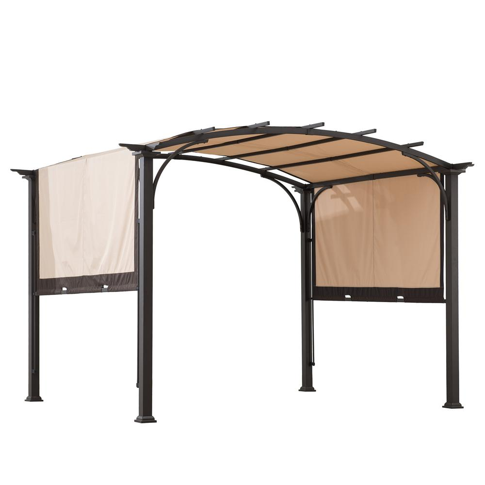 Sunjoy Sherman Oaks 10 Ft X 8 Ft Brown Steel Arched Pergola With 2 Tone Adjustable Shade A106005400 In 2020 Pergola Sherman Oaks Outdoor Living Space