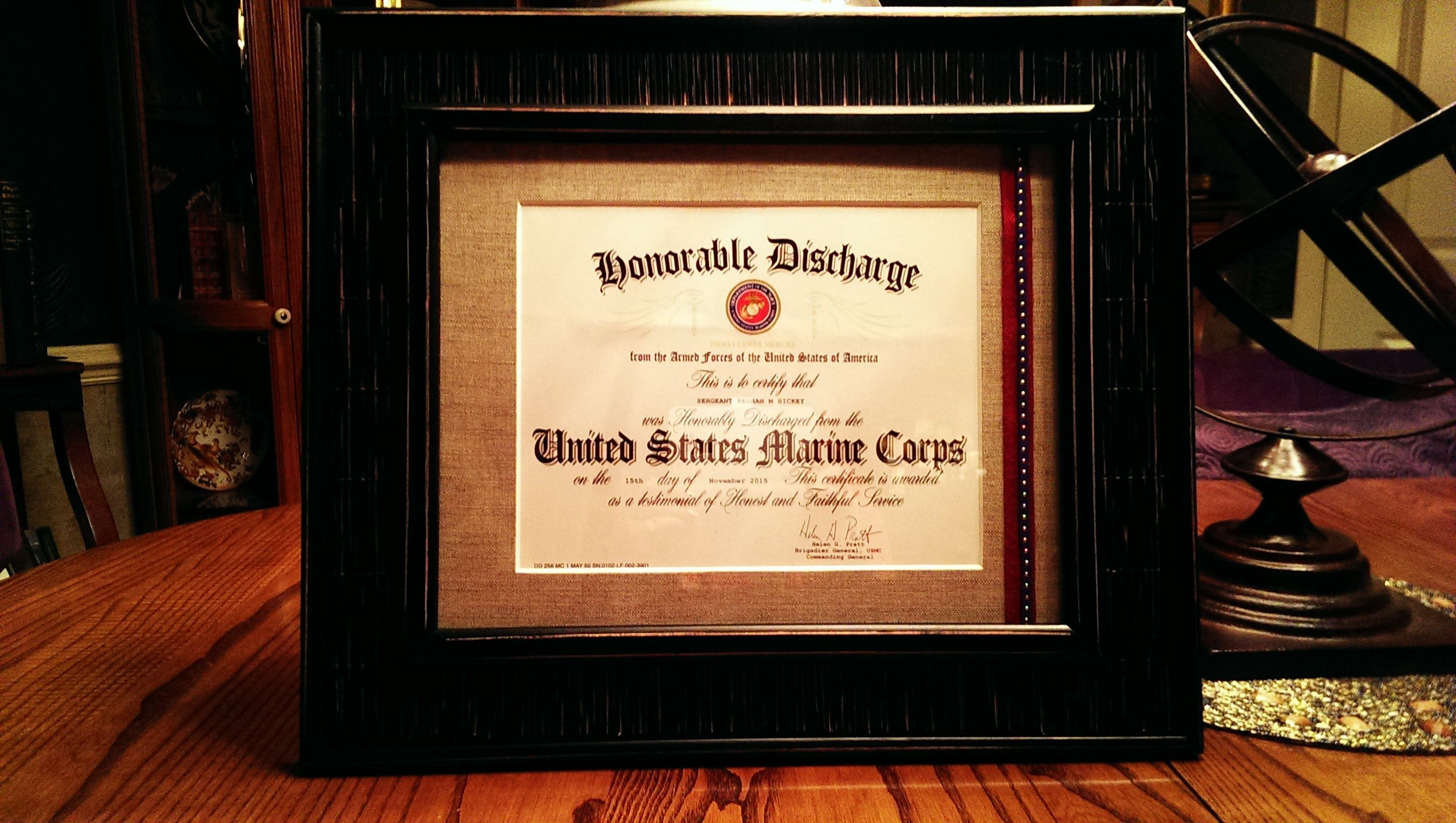 Custom Frame And Mat Design For Usmc Honorable Discharge Certificate