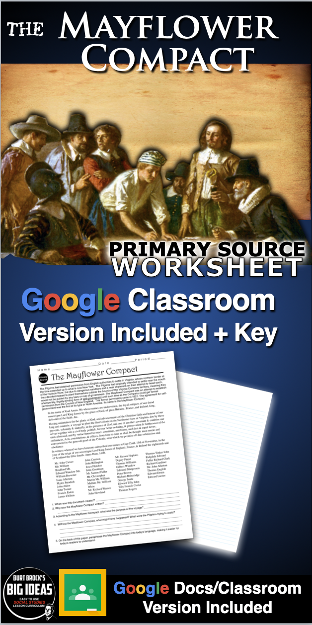 Photo of Mayflower Compact Worksheet (Primary Source) + Distance Learning Version