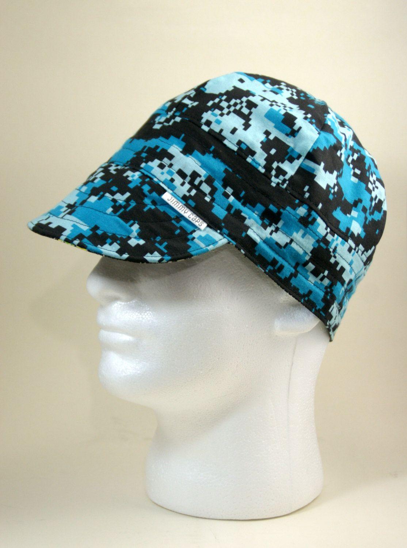 Blue Digital Camo Custom Welders Hat 46a7877983f6