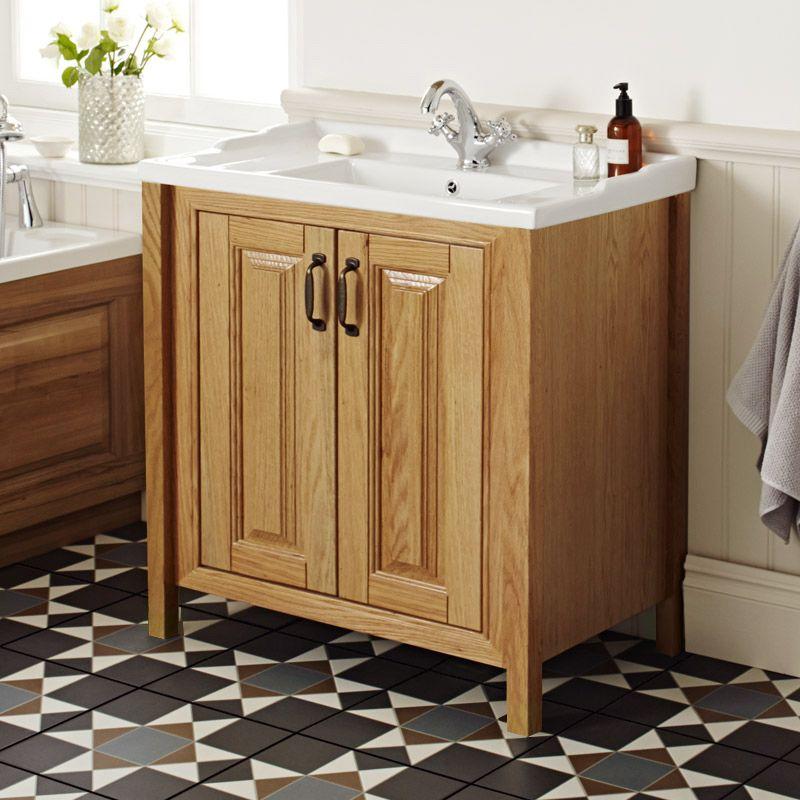 Shop the grenville american oak solid wood vanity unit - American classic bathroom vanity ...