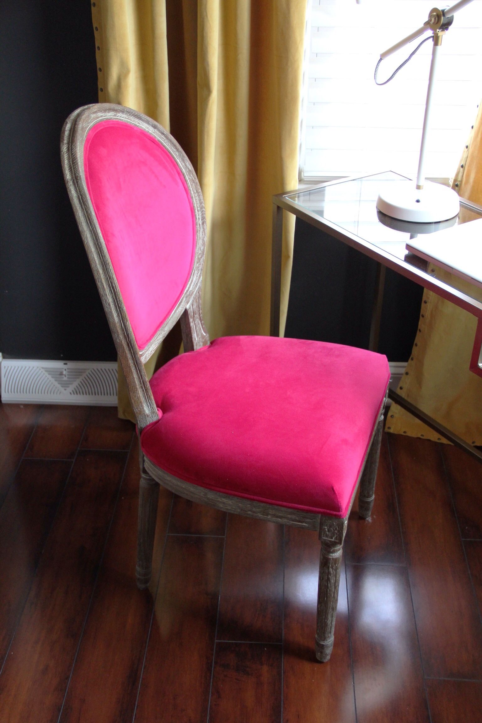 Pink velvet dining chair from Cost Plus World Market. I am