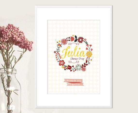 Lámina floral  con nombre personalizado para por thecreativegarage