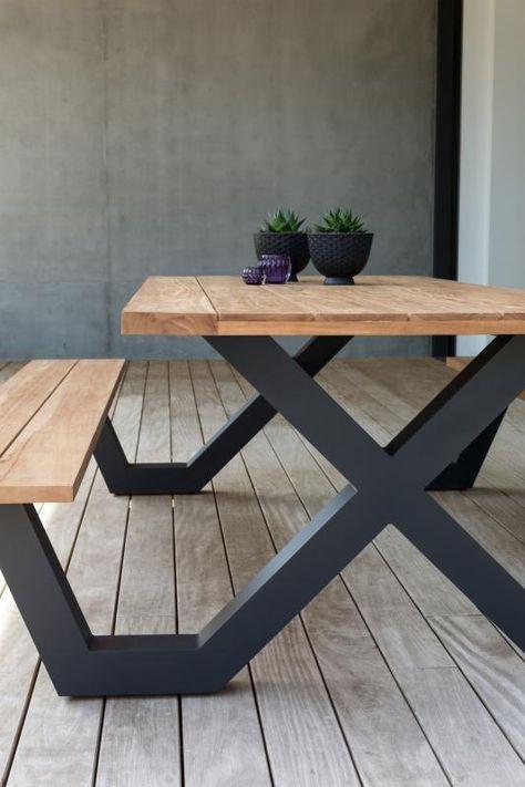 Formia Picknicktafel Overstock Garden Tuinmeubelen En 2020 Mesas Madera Y Hierro Mesas De Comedor Industriales Muebles Hierro Y Madera