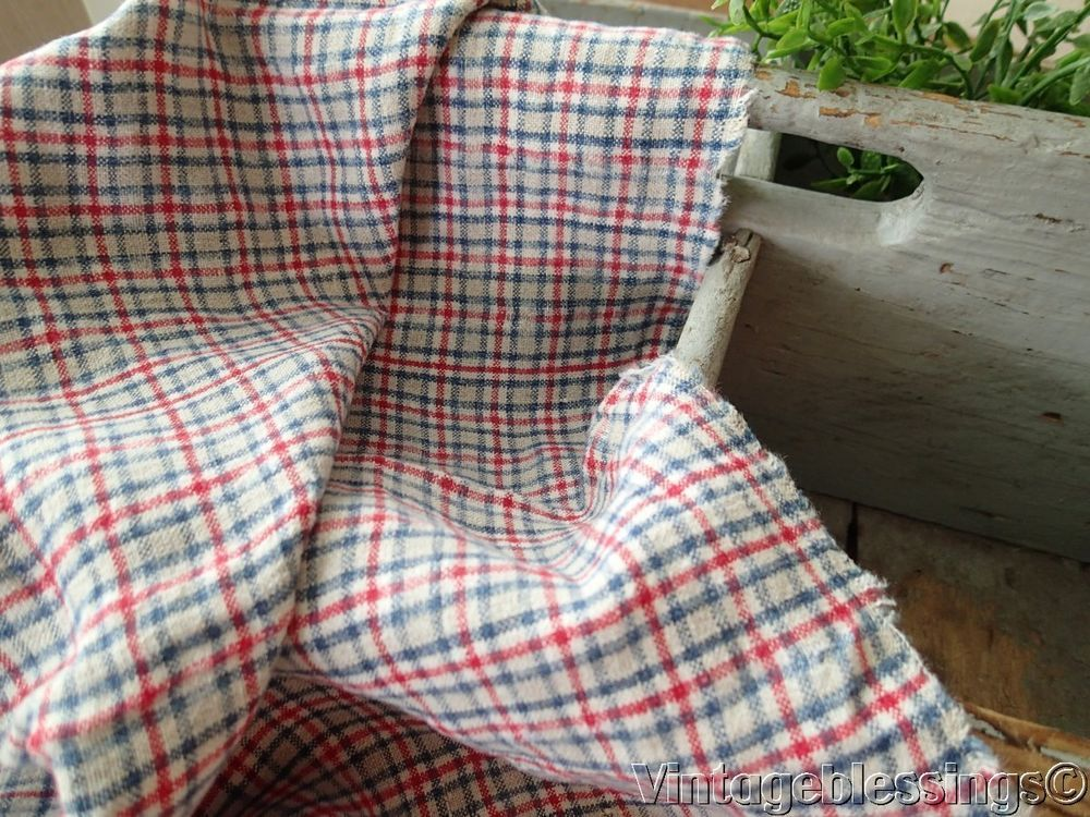 FRENCH LINEN Antique Red Blue Cream Plaid Flax Linen Fabric 25x18