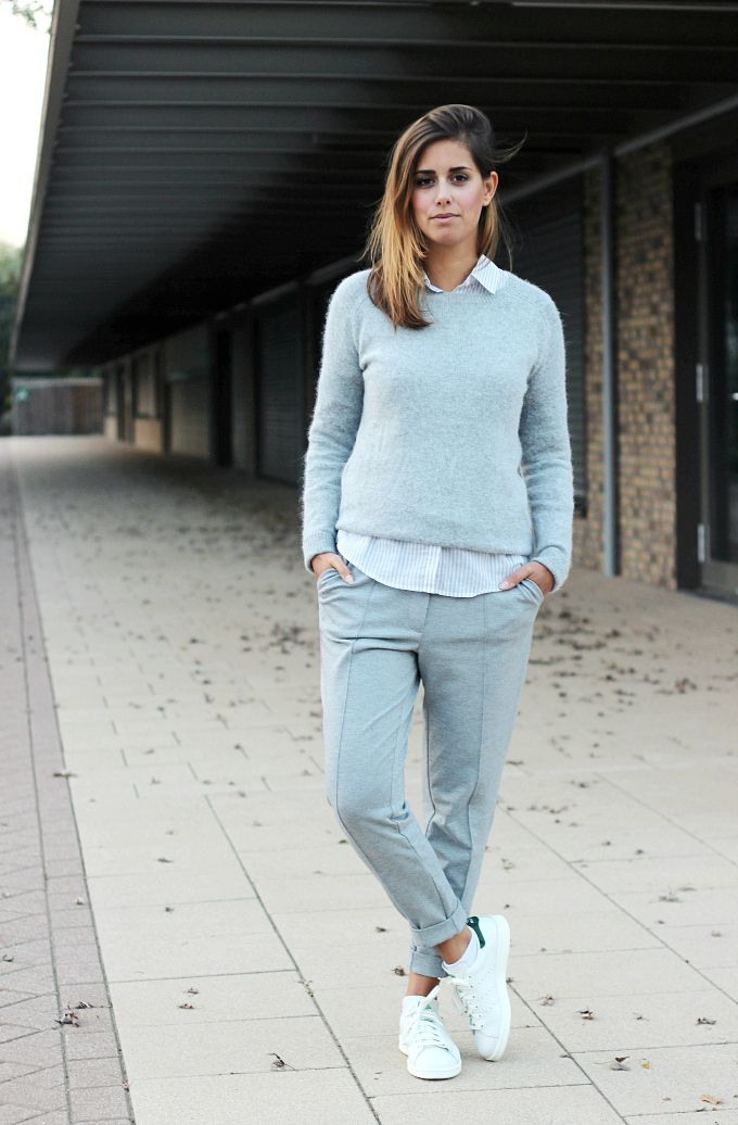 4272aab32 Grey-suit-white-adidas-stan-smith-sneakers | Grey