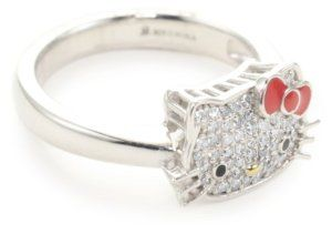 """Hello Kitty """"Sweet Statements"""" Diamond and Sterling Silver Ring, Size 7"""