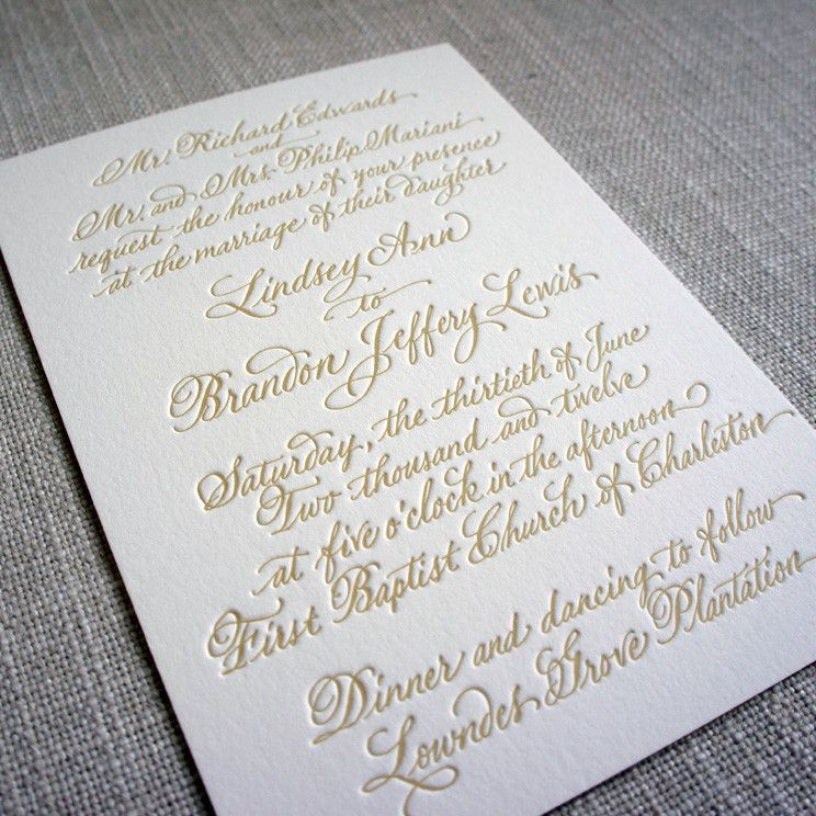 Calligraphy Letterpress Wedding Invitation | Calligraphy letterpress ...