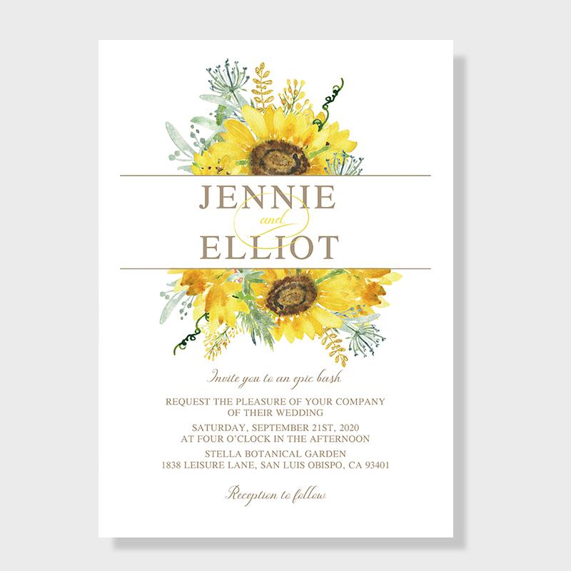 Elegant Watercolor Yellow Sunflower Wedding Invitations