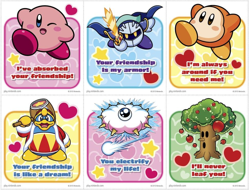 Kirby Valentine S Day Cards From Nintendo Cute Valentines