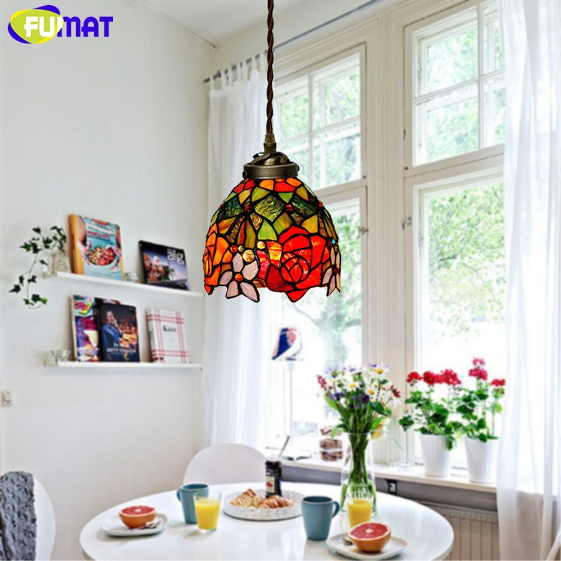 Fumat Stained Glass Pendant Lights Garden Rose Glass Art Lamp Best Stained Glass Light Fixtures Dining Room Inspiration
